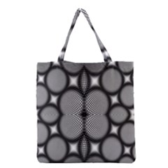 Mirror Of Black And White Fractal Texture Grocery Tote Bag