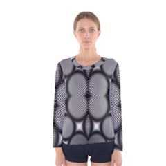 Mirror Of Black And White Fractal Texture Women s Long Sleeve Tee