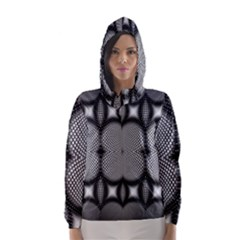Mirror Of Black And White Fractal Texture Hooded Wind Breaker (women)
