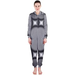 Mirror Of Black And White Fractal Texture Hooded Jumpsuit (Ladies)