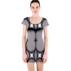 Mirror Of Black And White Fractal Texture Short Sleeve Bodycon Dress