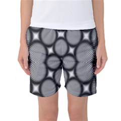 Mirror Of Black And White Fractal Texture Women s Basketball Shorts