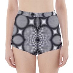 Mirror Of Black And White Fractal Texture High-Waisted Bikini Bottoms