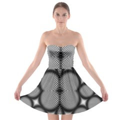 Mirror Of Black And White Fractal Texture Strapless Bra Top Dress