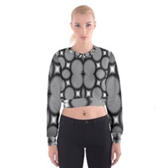 Mirror Of Black And White Fractal Texture Women s Cropped Sweatshirt