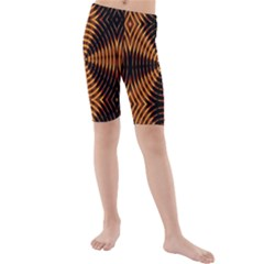 Fractal Pattern Of Fire Color Kids  Mid Length Swim Shorts