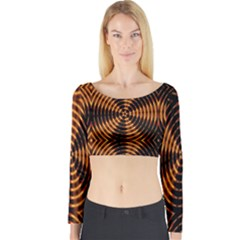 Fractal Pattern Of Fire Color Long Sleeve Crop Top