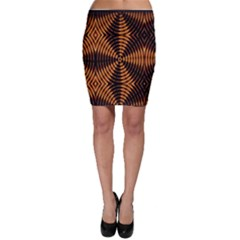Fractal Pattern Of Fire Color Bodycon Skirt