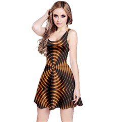 Fractal Pattern Of Fire Color Reversible Sleeveless Dress
