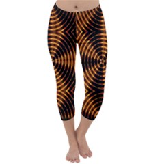Fractal Pattern Of Fire Color Capri Winter Leggings