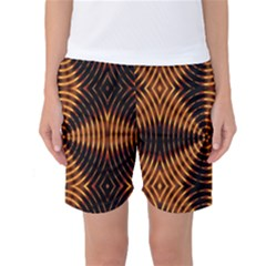 Fractal Pattern Of Fire Color Women s Basketball Shorts