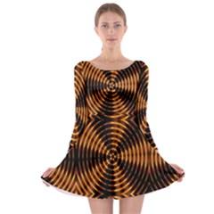 Fractal Pattern Of Fire Color Long Sleeve Skater Dress