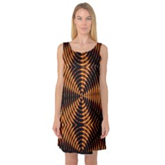 Fractal Pattern Of Fire Color Sleeveless Satin Nightdress