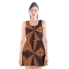Fractal Pattern Of Fire Color Scoop Neck Skater Dress