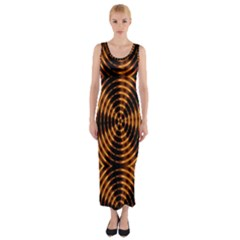 Fractal Pattern Of Fire Color Fitted Maxi Dress