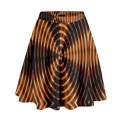 Fractal Pattern Of Fire Color High Waist Skirt