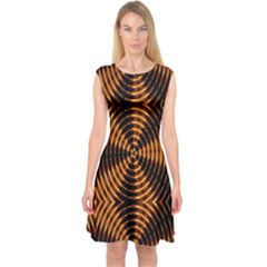 Fractal Pattern Of Fire Color Capsleeve Midi Dress