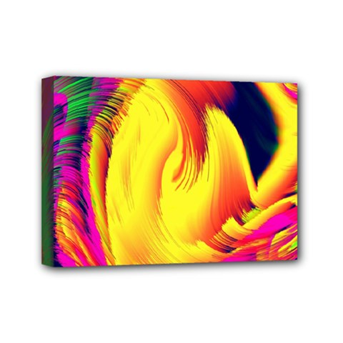 Stormy Yellow Wave Abstract Paintwork Mini Canvas 7  X 5