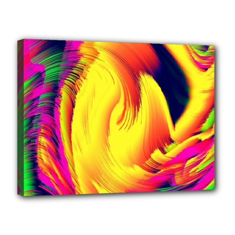 Stormy Yellow Wave Abstract Paintwork Canvas 16  X 12