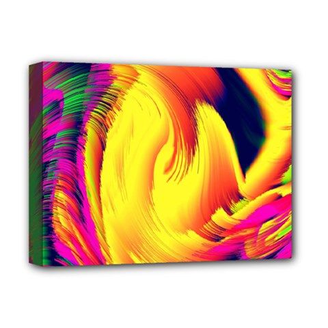 Stormy Yellow Wave Abstract Paintwork Deluxe Canvas 16  x 12