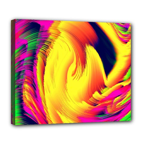 Stormy Yellow Wave Abstract Paintwork Deluxe Canvas 24  x 20