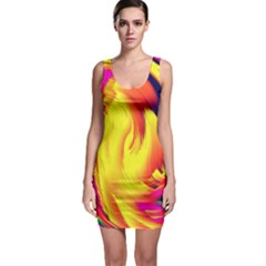 Stormy Yellow Wave Abstract Paintwork Sleeveless Bodycon Dress