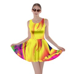 Stormy Yellow Wave Abstract Paintwork Skater Dress