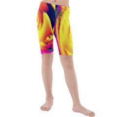 Stormy Yellow Wave Abstract Paintwork Kids  Mid Length Swim Shorts