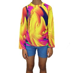 Stormy Yellow Wave Abstract Paintwork Kids  Long Sleeve Swimwear