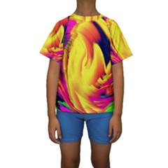 Stormy Yellow Wave Abstract Paintwork Kids  Short Sleeve Swimwear