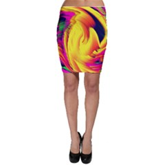 Stormy Yellow Wave Abstract Paintwork Bodycon Skirt