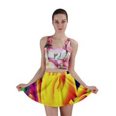 Stormy Yellow Wave Abstract Paintwork Mini Skirt