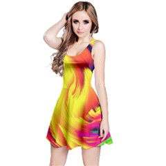 Stormy Yellow Wave Abstract Paintwork Reversible Sleeveless Dress