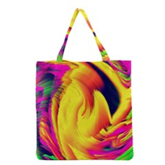 Stormy Yellow Wave Abstract Paintwork Grocery Tote Bag