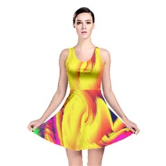 Stormy Yellow Wave Abstract Paintwork Reversible Skater Dress