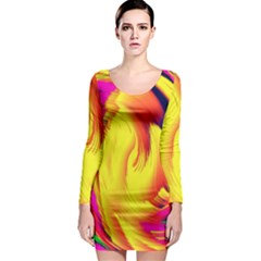 Stormy Yellow Wave Abstract Paintwork Long Sleeve Bodycon Dress