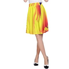 Stormy Yellow Wave Abstract Paintwork A-Line Skirt