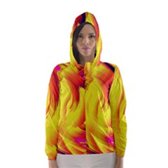 Stormy Yellow Wave Abstract Paintwork Hooded Wind Breaker (Women)