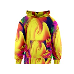 Stormy Yellow Wave Abstract Paintwork Kids  Pullover Hoodie