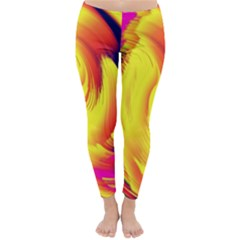 Stormy Yellow Wave Abstract Paintwork Classic Winter Leggings