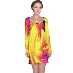 Stormy Yellow Wave Abstract Paintwork Long Sleeve Nightdress