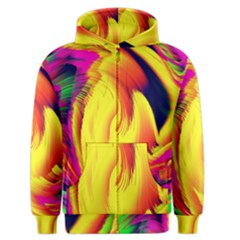 Stormy Yellow Wave Abstract Paintwork Men s Zipper Hoodie