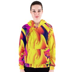 Stormy Yellow Wave Abstract Paintwork Women s Zipper Hoodie