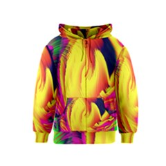 Stormy Yellow Wave Abstract Paintwork Kids  Zipper Hoodie