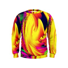 Stormy Yellow Wave Abstract Paintwork Kids  Sweatshirt
