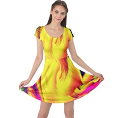 Stormy Yellow Wave Abstract Paintwork Cap Sleeve Dresses