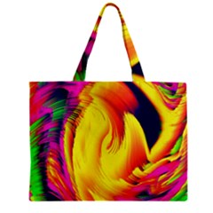 Stormy Yellow Wave Abstract Paintwork Zipper Mini Tote Bag