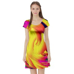 Stormy Yellow Wave Abstract Paintwork Short Sleeve Skater Dress