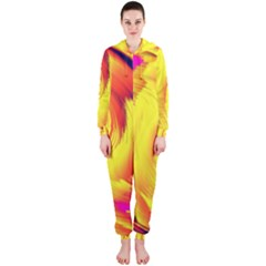 Stormy Yellow Wave Abstract Paintwork Hooded Jumpsuit (ladies)