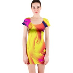 Stormy Yellow Wave Abstract Paintwork Short Sleeve Bodycon Dress